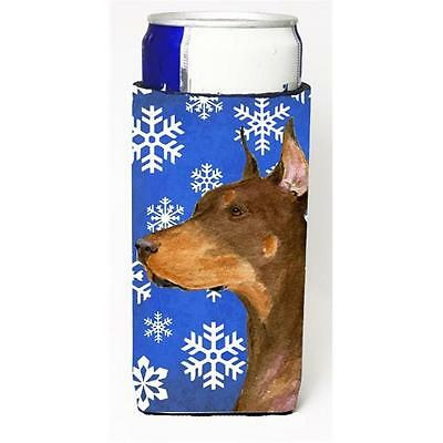 Doberman Winter Snowflakes Holiday Michelob Ultra bottle sleeve for Slim Can