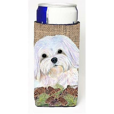 Maltese On Faux Burlap With Pine Cones Michelob Ultra bottle sleeve for Slim Can