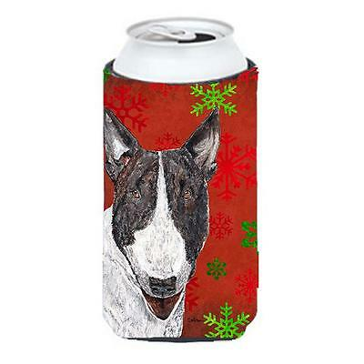 Bull Terrier Red Snowflake Christmas Tall Boy bottle sleeve Hugger 22 To 24 oz.