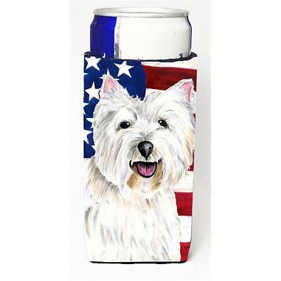 Usa American Flag With Westie Michelob Ultra bottle sleeves For Slim Cans 12 oz.