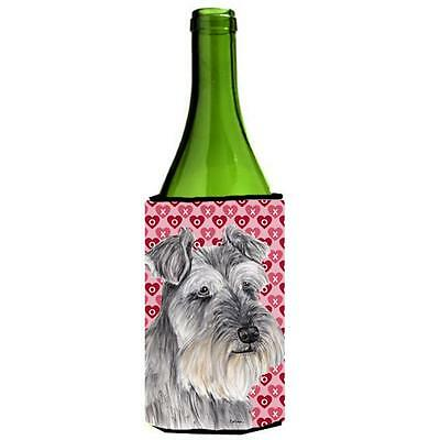 Schnauzer Hearts Love and Valentines Day Portrait Wine bottle sleeve Hugger