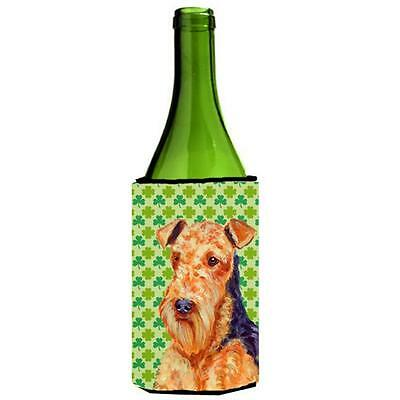 Airedale St. Patricks Day Shamrock Portrait Wine bottle sleeve Hugger 24 oz. • AUD 48.26