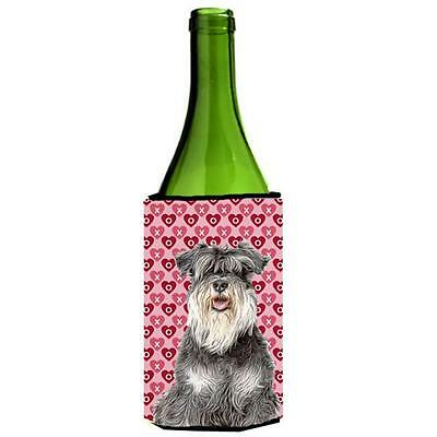 Hearts Love and Valentines Day Schnauzer Wine bottle sleeve Hugger