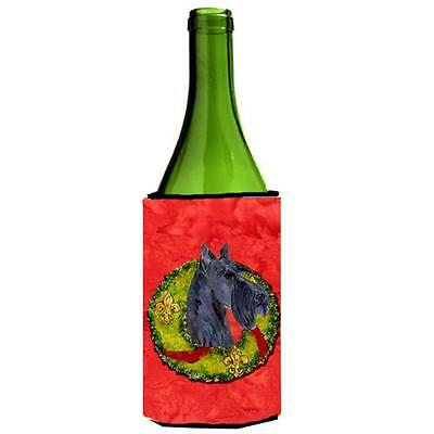 Carolines Treasures Scottish Terrier Cristmas Wreath Wine bottle sleeve Hugger