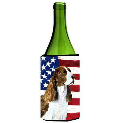 Usa American Flag With Springer Spaniel Wine bottle sleeve Hugger 24 oz.