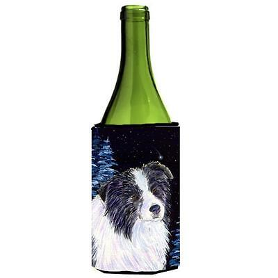 Carolines Treasures Starry Night Border Collie Wine bottle sleeve Hugger 24 oz.
