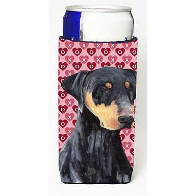 Doberman Hearts Love and Valentines Day Portrait Michelob Ultra bottle sleeve...