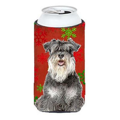 Red Snowflakes Holiday Christmas Schnauzer Tall Boy bottle sleeve Hugger