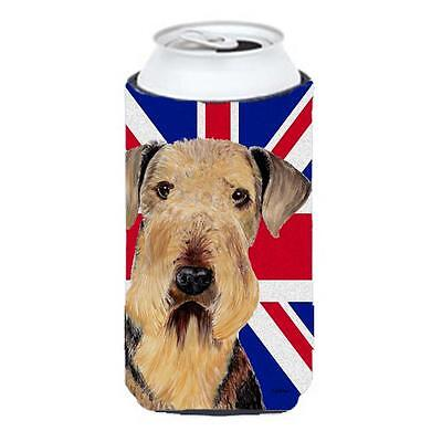 Airedale With English Union Jack British Flag Tall Boy bottle sleeve Hugger 2...