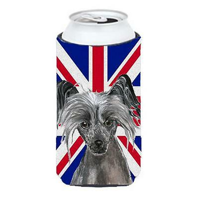 Chinese Crested With English Union Jack British Flag Tall Boy bottle sleeve H...