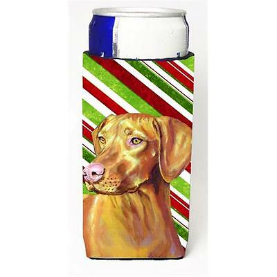 Vizsla Candy Cane Holiday Christmas Michelob Ultra bottle sleeves For Slim Ca...
