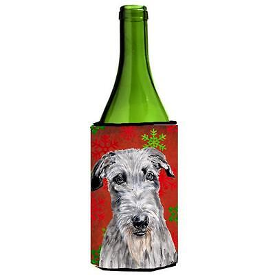 Scottish Deerhound Red Snowflakes Holiday Wine bottle sleeve Hugger 24 Oz.