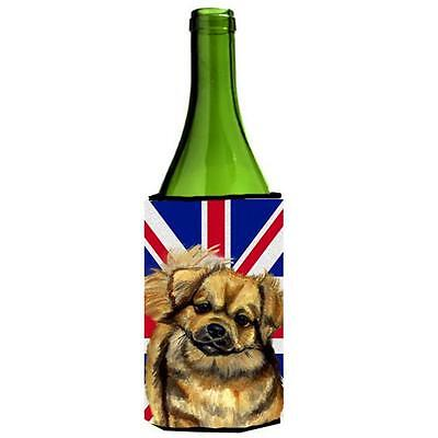 Tibetan Spaniel With English Union Jack British Flag Wine bottle sleeve Hugge...