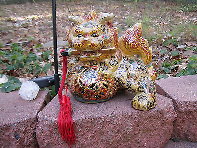 Vintage Ceramic Foo Dog Shi Lion Hand Painted Chinese Protector Statue