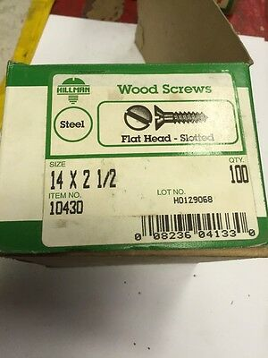 HILLMAN #14 X 2 1/2 Inch FLAT  Head SLOTTED PLATED Wood Screws 100 PER box