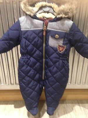 Next Baby Boys Navy & Denim Quilted Snowsuit Fur Lined Hood aged 3-6 months