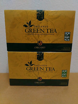 2 Boxes Organo Gold Green Tea With Ganoderma Lucidum - Expiry 14/12/2017 !!!
