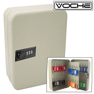 Voche® 48 Hook Lockable 3 Digit Combination Lock Key Cabinet Security Safe +Fobs