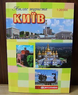2014 Kyiv Kiev city tourist map atlas in Ukrainian Public transportation Streets
