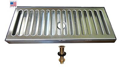 "Bev Rite 12"" X 5"" SS Draft Beer Drip Tray With Drain , Counter Top, Surface"