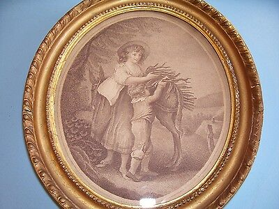 "SMALL ANTIQUE C18th GEORGIAN PRINT ""NOVEMBER"" HAMILTON ORIGINAL GILT FRAME C1790"