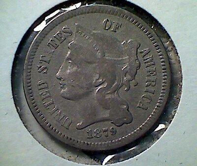 1879  Three Cent Nickel ,  better date , VF,  low mintage