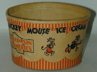 Mickey Mouse Ice Cream Cup Wisconsin Creameries 1930s RARE! Excellent Condition