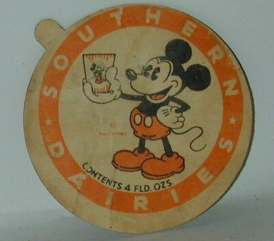 Mickey Mouse Ice Cream Cup Lid Southern Dairies 1930s Excellent Condition