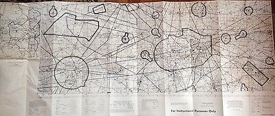 Orig 1970 Dallas Ft. Worth 2 Sided Aeronautical Chart And Map 20.5 X 49