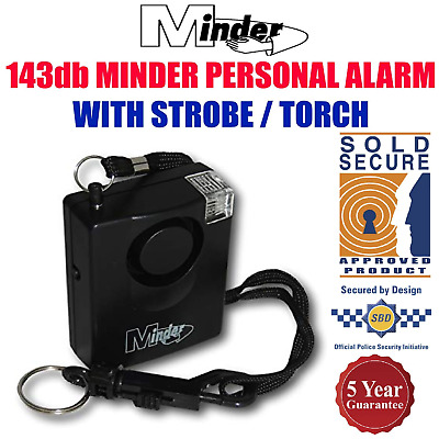 PERSONAL ALARM Minder 143db Panic/Rape/Attack Safety Alarm with Strobe/Torch