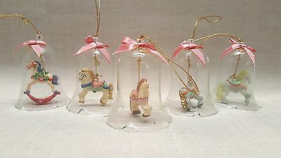 Lot of 5 Adorable Pony Horse Bell and Bow Holiday Christmas Tree Ornaments