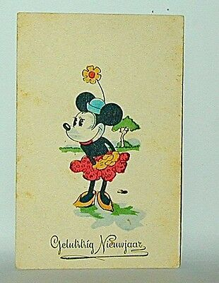 Mickey Mouse Postcard: Belgian Happy NewYear Card Classic Minnie Mouse Pose '30s