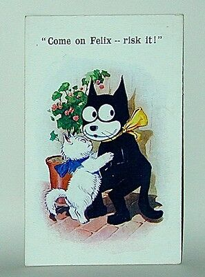 "Felix The Cat Postcard: Felix ""Risk It!"" With White Kitty #4730 Pathe UK 1920s"