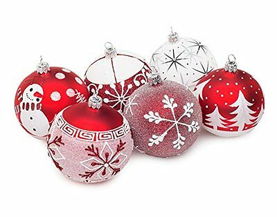 Hand Made Red & White Glittered Glass-Ball Christmas Tree Ornament Decorations -