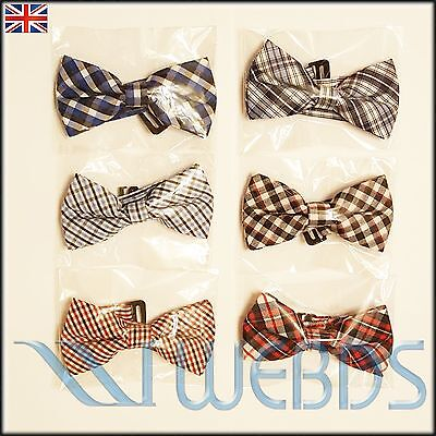 Boys Kids Children Pre-Tied Plaid Bow Tie with Adjustable Strap Wedding Tie New