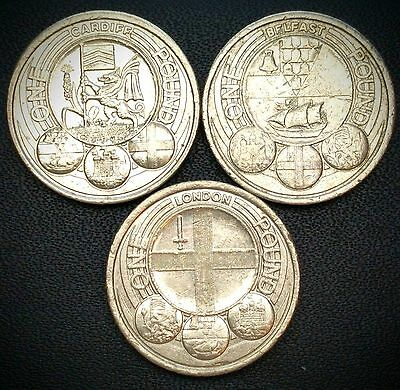 Capital Cities Commemorate one pound ( £1 ) rare coins - Cardiff Belfast London