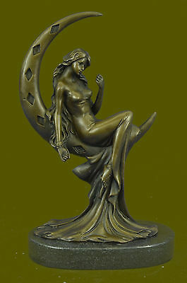 Female Nude Grecian Goddess Rapunzel Enchantress Bronze Marble Statue Figure Art