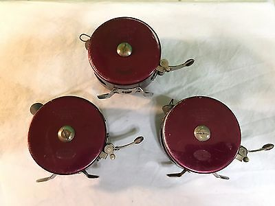 3 VINTAGE SOUTH BEND OREN-O-MATIC No. 1140 & 2-1130 AUTOMATIC FLY FISHING REEL
