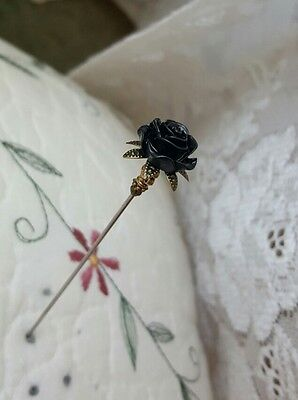 Victorian Hat Pin Vintage Inspired Mourning Black Rose Bead Antique Brass