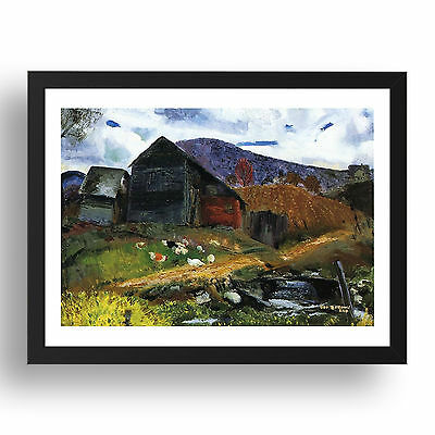 """Old Barn in Shady Valley-George Wesley Bellows-1920, 13x9"""" Black Frame"""