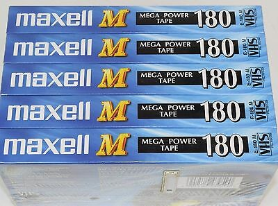 Maxell M180 x 5  Mega Power Vhs Video Tapes. NEW & SEALED.