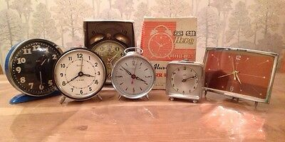 6 Vintage Clocks And Alarm Clocks Repair Or Collecting One Wound And Working