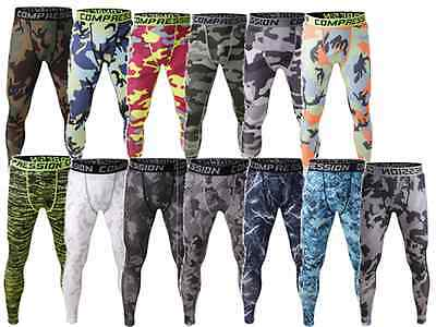 Mens Compression Printed Under Running THERMAL Tight Armour Leggings Baselayer