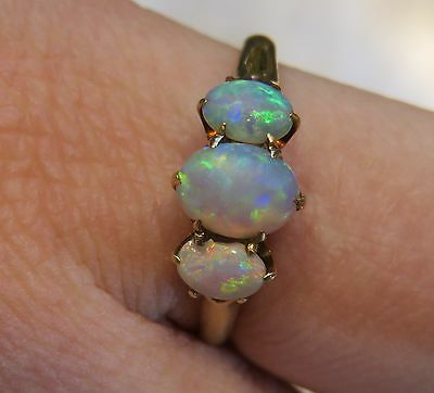 10K Antique Victorian 3 Genuine Opal Possible Ostby Barton Vintage Claw Ring