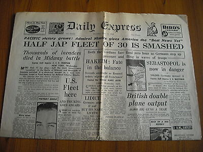 WW2 WARTIME NEWSPAPER - DAILY EXPRESS - JUNE 11th 1942