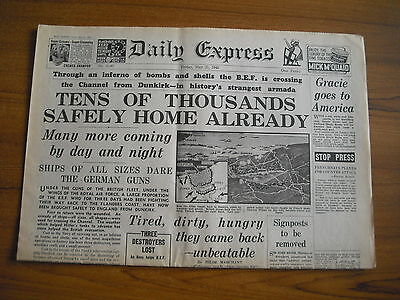 WW2 WARTIME NEWSPAPER - DAILY EXPRESS - MAY 31st 1940