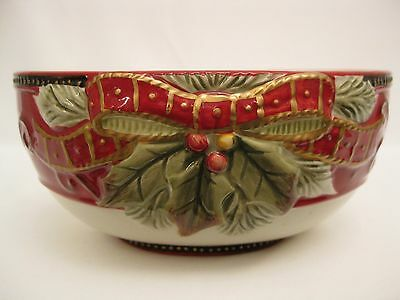 Fitz and Floyd Damask Holiday Wishes Christmas Dish.