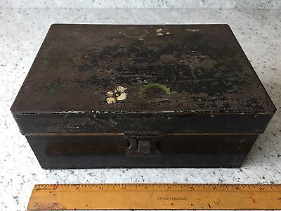 Vintage Black Metal Cash Box/ Tin With Tray Inside
