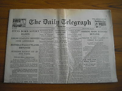 WW2 WARTIME NEWSPAPER - DAILY TELEGRAPH - JANUARY 5th 1940