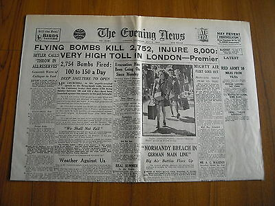 WW2 WARTIME NEWSPAPER - THE EVENING NEWS - JULY 6th 1944